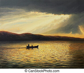 The Bay of Silence - An oil painting on canvas of a tranquil...
