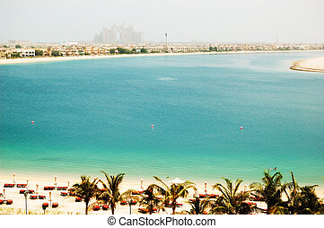 The beach at luxury hotel on Palm Jumeirah man-made island, Dubai, UAE