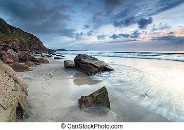 The Beach at Pentewan in Cornwall