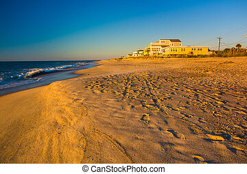 The beach at sunrise at Edisto Beach, South Carolina.