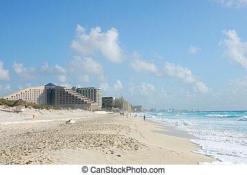 The beach by the Carribean sea in Cancun Mexico - The beach...