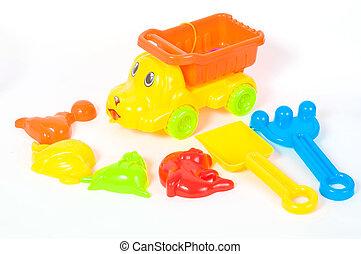 The beach car and toys