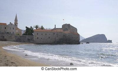 The beach of old Budva, Montenegro