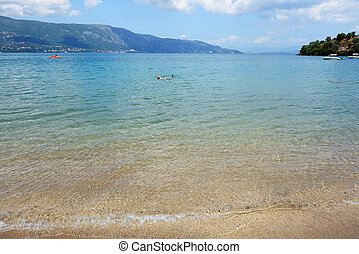 The beach on Corfu island, Greece