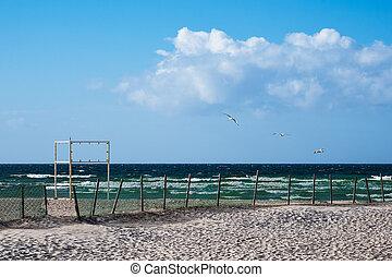 The beach on the Baltic Sea coast in Warnemuende, Germany