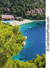 The beach on Turkish resort, Fethiye, Turkey