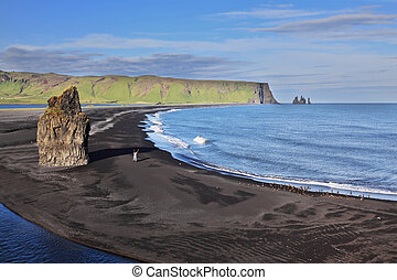 The beach with black volcanic sand