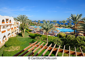 The beach with swimming pool at luxury hotel, Sharm el...