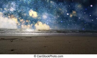 The beach with the sea and space on the horizon.