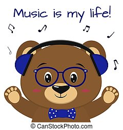 The bear is a brown musician, listening to music in blue headphones, glasses and a bow tie with raised paws, in the style of cartoons.