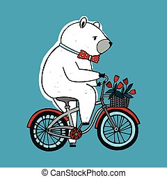 The bear on the bicycle with basket and flowers. Vintage Illustration on blue background.