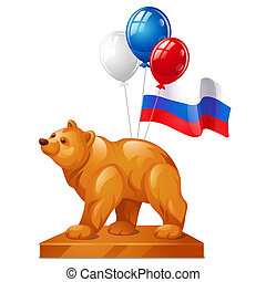 The bear statue is a symbol of power, colorful balloons and the flag of Russia isolated on white background. Vector cartoon close-up illustration.