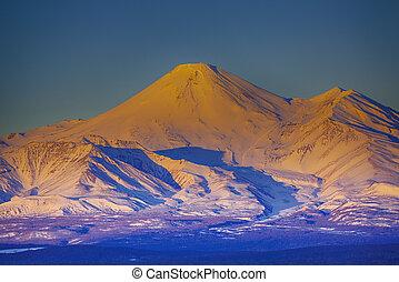 The Beautefull view on Avachinsky volcano in Kamchatka peninsula on the sunset
