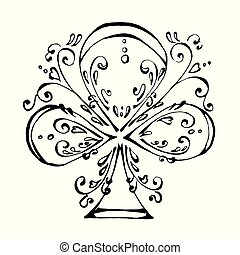 The beautiful ace of clubs in black and white colors - the...