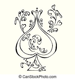 The beautiful ace of spades in black and white colors