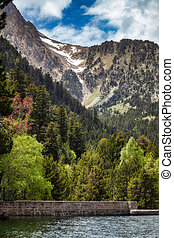 The beautiful Aiguestortes i Estany de Sant Maurici National Park of the Spanish Pyrenees mountain in Catalonia