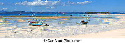 The beautiful beach of Nosy Iranja with two small ship, Nosy Be island, Panoramique, Madagascar