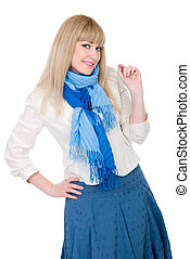 The beautiful blonde in a white jacket and with a blue scarf looks directly.Isolated background