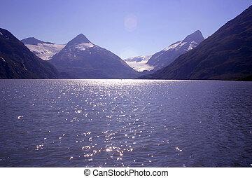 Turnagain Arm - The beautiful blue waters of Turnagain Arm,...