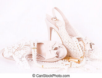 The beautiful bridal shoes, lace