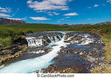 The beautiful Bruarfoss waterfall in Iceland