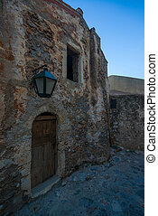 The beautiful Byzantine castle town of Monemvasia in Laconia at sunset