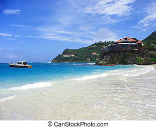 The beautiful Caribbean beach at St
