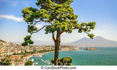 napoli - the beautiful coastline of napoli, italy