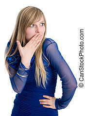The beautiful emotional blonde covers a mouth with a hand