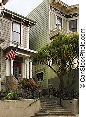 The beautiful facade in San Francisco