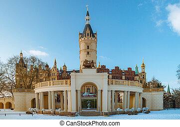 The beautiful, fairy-tale Castle of Schwerin in winter times