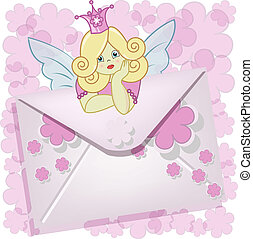 The fairy sits on an envelope with pink a flowers on a white background