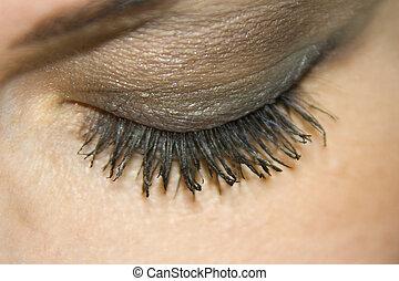 the beautiful female eye macro shutting