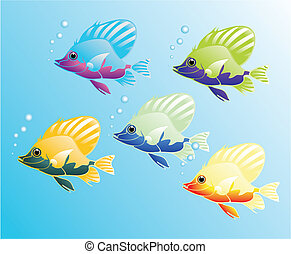 The beautiful fishes of five colours are floating.