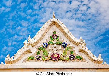 The Beautiful front of  pavilion in temple on blue sky background