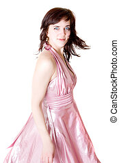girl in a pink dress