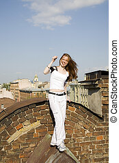 girl on a background of city