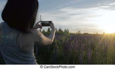 The beautiful girl takes a photo of flowers from her phone. Lupine