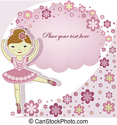 The beautiful girl the ballerina in a pink dress with...