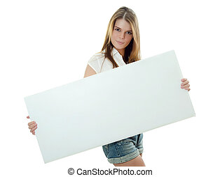 The beautiful girl with a banner in hands