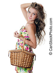The beautiful girl with a basket