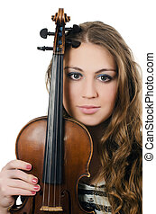 The beautiful girl with a violin