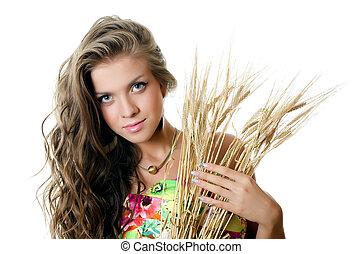 The beautiful girl with wheat ears