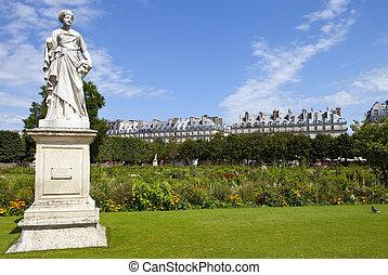 The beautiful Jardin des Tuileries in Paris, France.