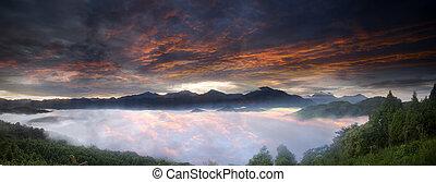Beautiful Jinlong Mountain Sunrise, Taichung, Taiwan