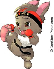 the beautiful karate bunny on a white background