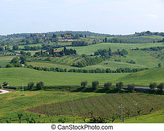 The beautiful landscape of Tuscany. View of the hills ...