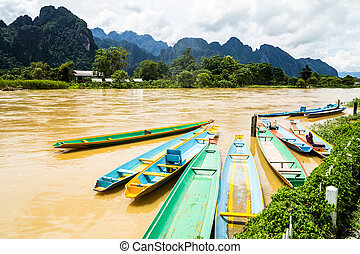 the beautiful landscape of vang vieng,laos
