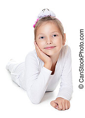The beautiful little girl isolated on white
