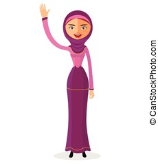 The beautiful Muslim woman in a hijab and  waving her hand isolate on white background.
